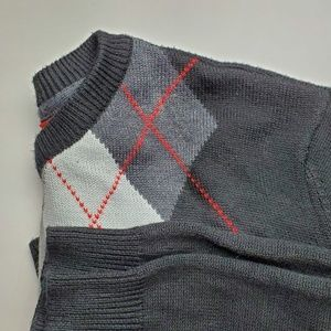 Vans Black Sweater Gray with Red Argyle Size XL
